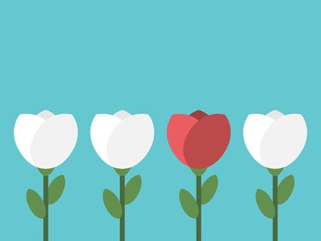 Red unique flower in row of white ones on turquoise blue background. Uniqueness, diversity and standing out from the crowd concept. Flat design. Illustration
