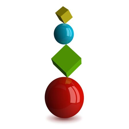 stability: Multicolor spheres and cubes isolated on white. Perfect balance and stability concept. 3D rendering Stock Photo