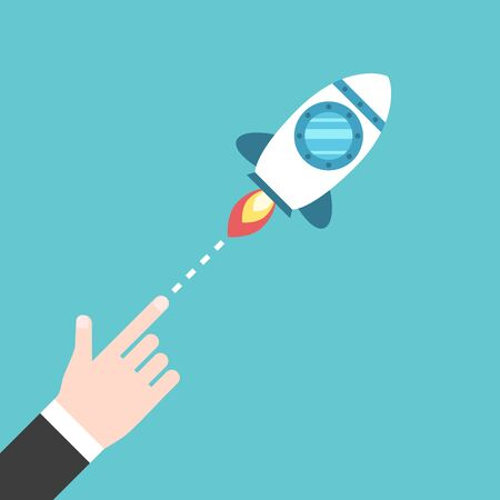 Hand launching space rocket flying diagonally. Beginning, startup, innovation and project concept. Flat design. EPS 8 vector illustration, no transparency