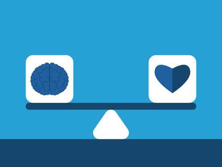 Heart and brain cubes on scales on blue background. Balance, emotion and intelligence concept. Flat design. EPS 8 vector illustration, no transparency Illustration