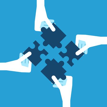Quatre mains blanches tenant des pièces de puzzle bleu. Travail d'équipe, le partenariat et le concept de solution. Design plat. EPS 8 vector illustration, pas de transparence