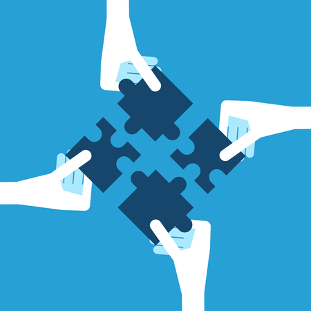 Four white hands holding blue puzzle pieces. Teamwork, partnership and solution concept. Flat design. EPS 8 vector illustration, no transparency