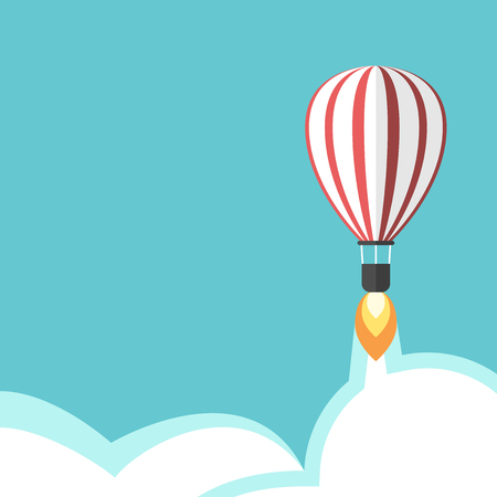 innovate: Jet propelled hot air balloon on turquoise blue sky background with flame, vapour and clouds. Creativity, start up and idea concept. Flat design. EPS 8 vector illustration, no transparency