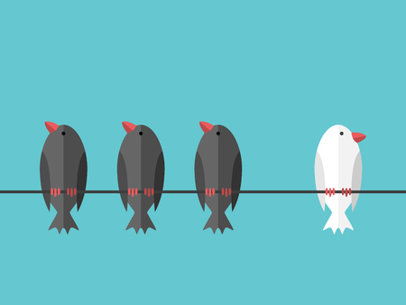 Einzelne weiße einzigartige Vogel auf Draht hockt beiseite von vielen schwarzen auf blauen Himmel Hintergrund. Mut, Willenskraft und Individualität Konzept. Flaches Design. 8 EPS-Vektor-Illustration, keine Transparenz