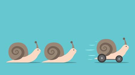 Unieke succesvolle snel bewegende slak met wielen voor sommige langzame degenen. Concurrentie, concurrentievoordeel en innovatie concept. Plat ontwerp. EPS 8 vector illustratie, geen transparantie