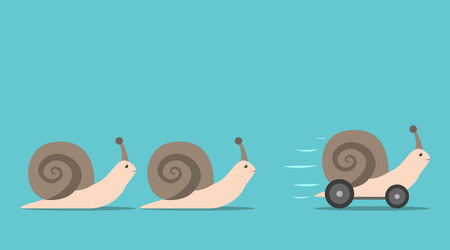Unique successful fast moving snail with wheels in front of some slow ones. Competition, competitive advantage and innovation concept. Flat design. EPS 8 vector illustration, no transparency Stock fotó - 71609940