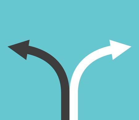 flechas curvas: flechas curvas en blanco y negro que muestra las direcciones sobre fondo azul turquesa. Elección, el objetivo y el concepto de decisión. Diseño plano. EPS 8 vector ilustración, sin transparencia Vectores