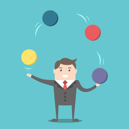 Zakenman jongleren kleurrijke bollen. Multitasking, stress en prestatie-concept. Plat ontwerp. EPS 8 vector illustratie, geen transparantie Stock Illustratie