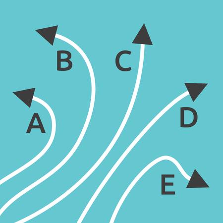 Cinco caminos diferentes con las letras A, B, C, D y E sobre fondo azul turquesa. La confusión, la decisión, la diversidad y el concepto de la elección. Diseño plano. EPS 8 vector ilustración, sin transparencia Ilustración de vector
