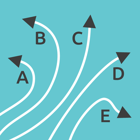 Five different paths with letters A, B, C, D and E on turquoise blue background. Confusion, decision, diversity and choice concept. Flat design. EPS 8 vector illustration, no transparency