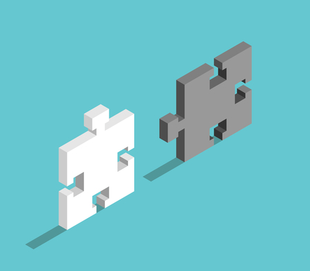 Two isometric puzzle pieces, white and black, on turquoise blue background. Illustration