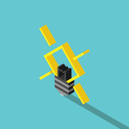 Isometric yellow glowing light bulb on turquoise blue background with long drop shadow. Idea, creativity and innovation concept. Flat design. No transparency, no gradients