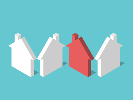 Isometric unique red house among many white ones on turquoise blue background. Real estate, home and construction concept. Flat design. No transparency, no gradients