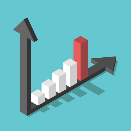 steep: Isometric bar chart with two axes and columns showing rapid increase on turquoise blue background. Growth, development and success concept. Flat design. No transparency, no gradients