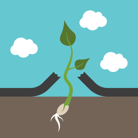 sprig: Small strong plant breaking asphalt. Hope, power, will and persistence concept. Illustration