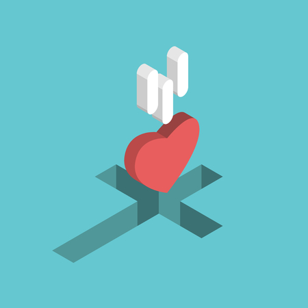 Red isometric heart falling into Christian cross shaped hole. Illustration
