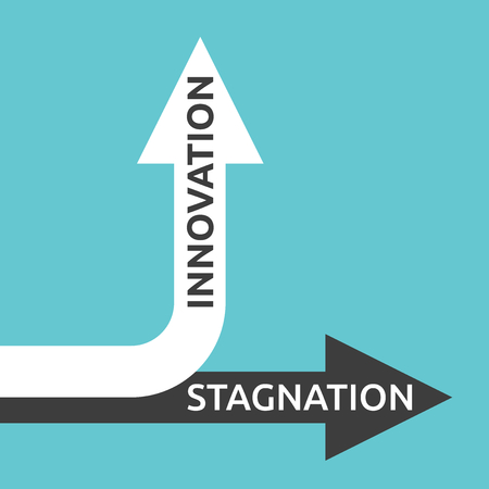 Two arrows with innovation and stagnation text isolated on turquoise blue. Illustration