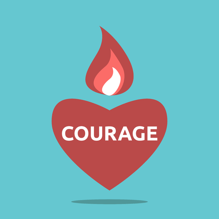 Courageous red heart shape with flame and text. Illustration