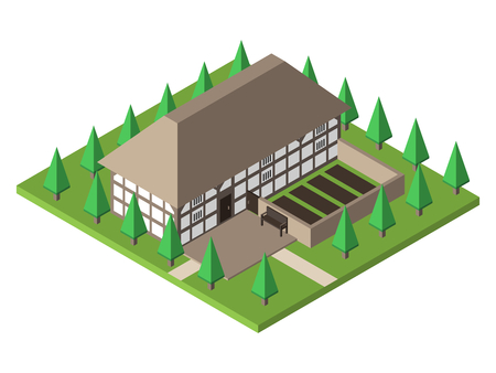 real estate house: Old traditional historical Welsh house. Farmhouse with garden and trees. Flat design. EPS 8 compatible vector illustration, no transparency, no gradients