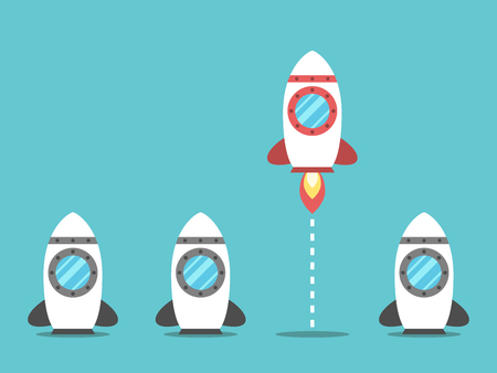 Unique red space rocket launching among many idle gray ones. Start up, courage, leadership and beginning concept. Flat design. EPS 8 compatible vector illustration, no transparency, no gradients
