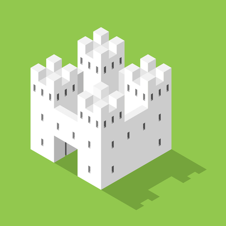 Simple white isometric castle on green background with shadow. Security and real estate concept. Flat design. EPS 8 compatible vector illustration, no transparency, no gradients