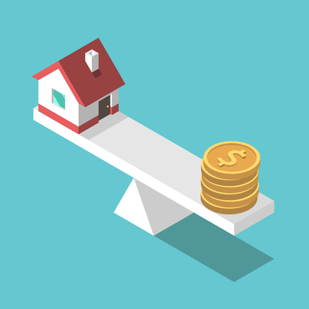 Small isometric house and gold dollar coins on weight scales. Real estate, price, finance and home concept. Flat design. EPS 8 compatible vector illustration, no transparency, no gradients Illustration