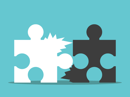 Two jagged puzzle pieces unable to be joined together. Bad team work, communication and cooperation concept.