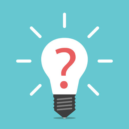 White glowing light bulb with red question mark inside. Idea, help, creativity, challenge and brainstorming concept. Flat design. EPS 8 compatible vector illustration, no transparency, no gradients