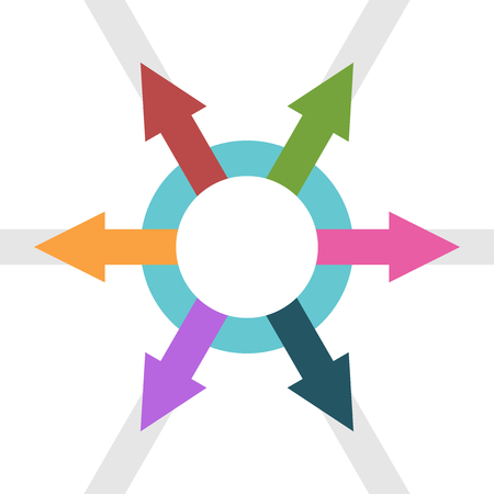 Many arrows from circle pointing outwards. Network, collaboration, teamwork, leadership and organization concept. Flat design. EPS 8 compatible vector illustration, no transparency, no gradients