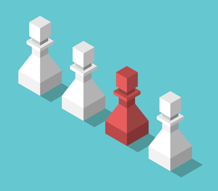 Isometric red unique chess pawn in row of white ones on turquoise blue. Uniqueness, individuality and creativity concept. Flat design. EPS 8 compatible vector illustration, no transparency, no gradients Illustration