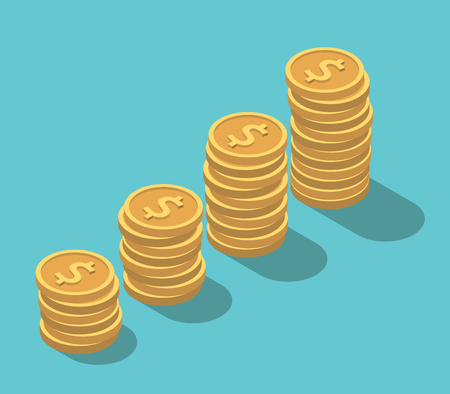 Isometric gold dollar coins stack on turquoise blue background. Finance, money, wealth, growth and investment concept. Flat design. EPS 8 compatible vector illustration, no transparency, no gradients