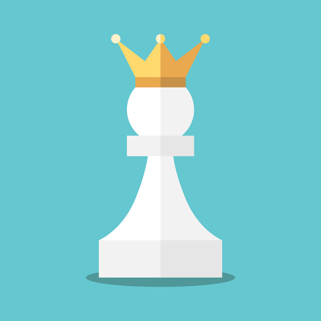 Crowned white pawn on turquoise blue pattern.