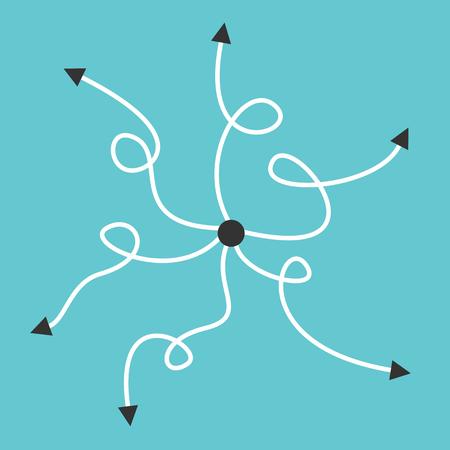 Muchos caminos curvos con puntas de flecha que van desde el centro. Concepto de confusión, elección, desafío, decisión y problema.