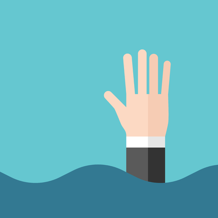 Hand of drowning businessman above waves. Crisis, bankruptcy, finance and problem concept. Flat design. Vector illustration, no transparency, no gradients Illustration