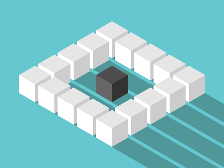 outsider: Isometric unique black lonely cube in the middle of many white ones on turquoise blue background with long shadow. Loneliness, individuality, uniqueness, difference and society concept. Flat design