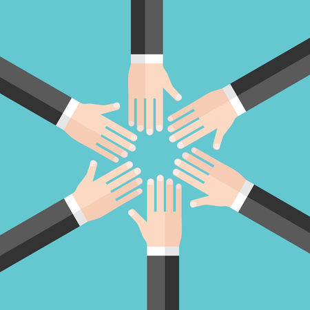 Hands of six men in circle, top view on turquoise blue background. Team, teamwork, friendship, partnership and harmony concept. Flat design. Vector illustration, no transparency, no gradients Ilustrace