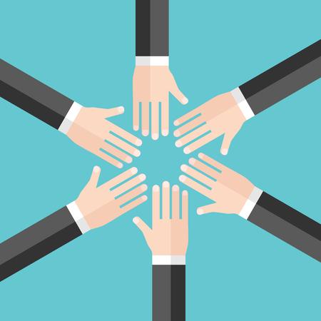Mains de six hommes en cercle, vue de dessus sur fond bleu turquoise. Concept d'équipe, travail d'équipe, amitié, partenariat et harmonie. Design plat. Illustration vectorielle, pas de transparence, pas de dégradés