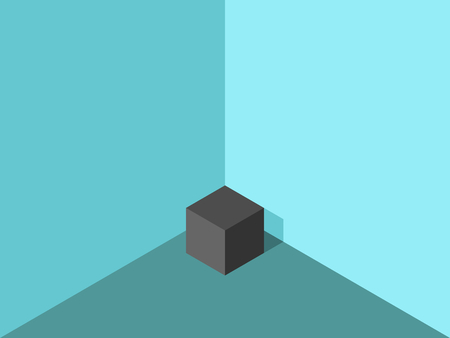 Isometric black lonely cube in corner of turquoise blue room. Loneliness concept. Flat design. Vector illustration, no transparency, no gradients Illustration