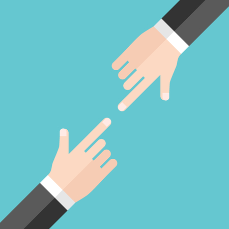 conflictos sociales: Two hands of businessmen blaming and pointing at each other on turquoise blue background. Argument, conflict and responsibility concept. Flat design. Vector illustration, no transparency, no gradients