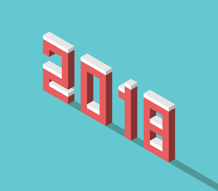 blocky: Snowy isometric red 2018 text with long shadow on turquoise blue background. New year, beginnings and celebration concept. Flat design. Vector illustration, no transparency, no gradients