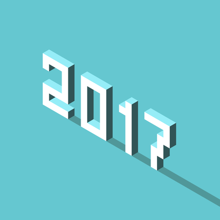 blocky: Isometric white 2017 text with long shadow vector Illustration