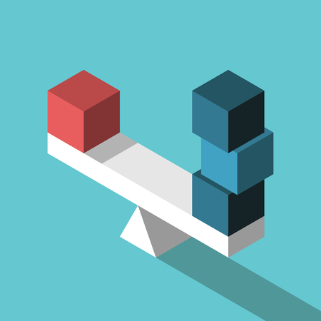 Red isometric box and three blue ones on seesaw weight scale in equilibrium vector