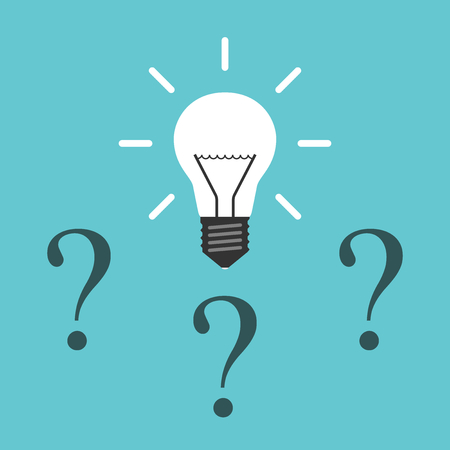 Shining white light bulb above three question marks vector Illustration