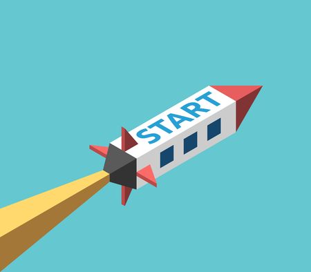 Isometric space rocket flying with flame jet and start word vector Vektorové ilustrace