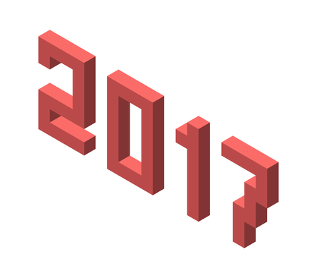 blocky: Isometric white 2017 text with long shadow isolated vector Illustration