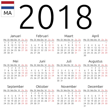 Simple annual 2018 year wall calendar. Dutch language. Week starts on Monday. Highlighted Saturday and Sunday, no holidays.illustration, no transparency, no gradients