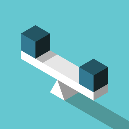 Two isometric identical blue cubes on seesaw scale on turquoise background. Balance, equality, choice and comparison concept. Flat design. Vector illustration, no transparency, no gradients