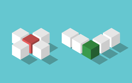 Isometric no and yes, cross and check mark assembled from colorful cubes on turquoise blue background. Choice, decision, right, wrong, test and voting concept. Flat design Illustration