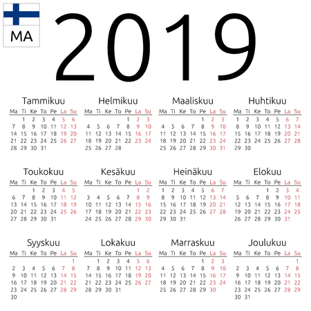 Simple annual 2019 year wall calendar. Finnish language. Week starts on Monday. Highlighted Saturday and Sunday, no holidays. EPS 8 vector illustration, no transparency, no gradients Ilustração