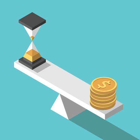 Isometric sand glass and gold dollar coins on seesaw weight scales vector illustration